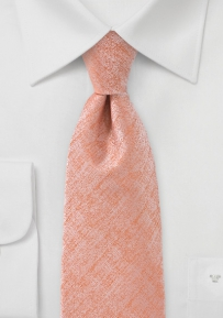 Heathered Textured Mens Tie in Peach
