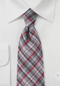 Modern Grey Tie with Red Accents