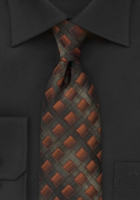 Handwoven Tie in Olives and Bronzes