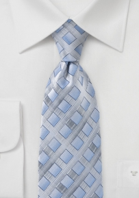 Blue and Silver Diamond Tie