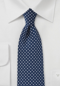 Navy Blue Necktie with Silver Diamonds
