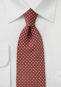Burnt Orange Diamond Patterned Tie