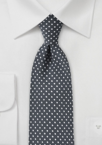 Diamond Pattern Tie in Grays and Silver