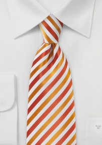 Festive Thanksgiving Striped Tie in Pumpkin and Cherry