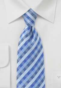 Designer Check Tie in Blues in Boys Length