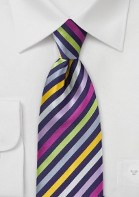 Colorful Striped XL Length Tie in Purples, Pinks, and Greens