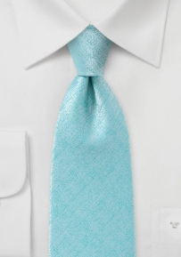 Hand Loom Technique Tie with Aqua and Silver