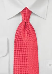 Polka Dot Textured Tie in Coral