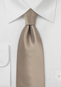 Textured Solid XL Length Tie in Taupe