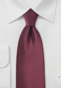 Solid Tie with Woven Texture in Rosewood Red
