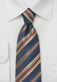 Midnight Blue Tie with Maroon and Golden Stripes