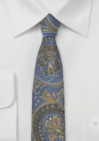 Skinny Paisley Tie in Honey Yellow, Gold, and Blue