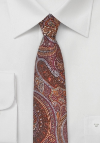 Skinny Paisley Designer Tie in Bronze and Copper