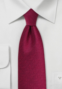 Vintage Brick Red Tie with Herringbone Weave
