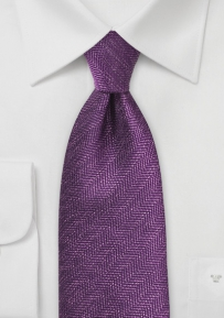 Deep Purple Designer Tie with Herringbone