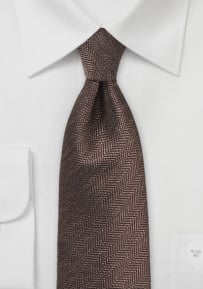 Brown Mens Tie with Herringbone Weave