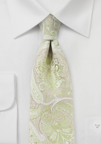 Pastel Chartreuse Paisley Tie