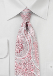 Paisley Tie in Coral Red and Silver