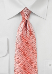 Graphic Plaid Tie in Strawberry Red