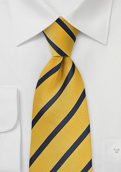 striped tie in yellow and navy