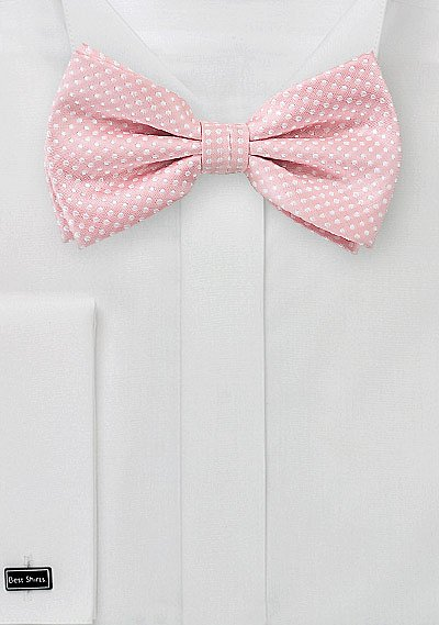 soft pink men u0026 39 s bow tie with white pin dots