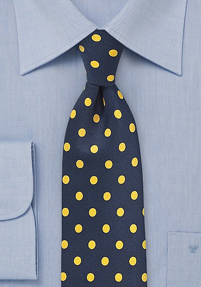 Bold Polka Dot Tie In Navy And Lemon Yellow Bows N Ties Com