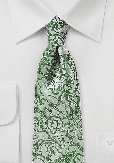 clover green floral paisley tie