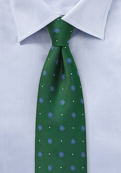 Floral Tie in Hunter Green and Light Blue | Bows-N-Ties.com