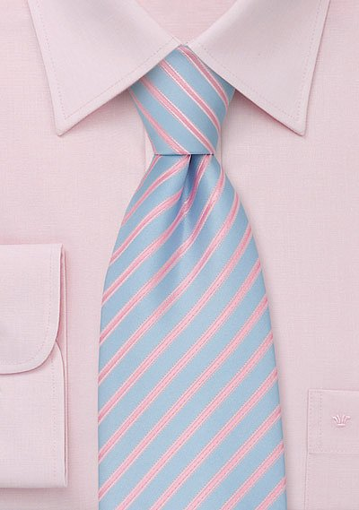 Trendy Mens Necktie In Electric Blue And Pink Bows N