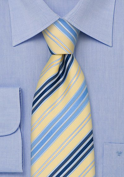 Modern Striped Tie In Light Yellow Baby Blue And Navy