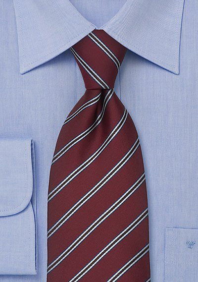 Mens Tie In Dark Burgundy With Light Blue Stripes Bows N