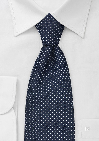 midnight blue mens tie with small white polka dots