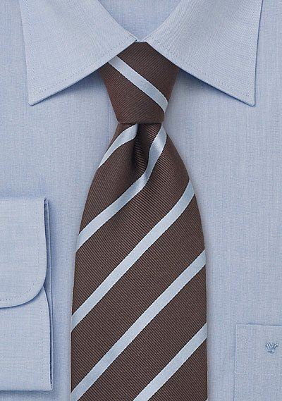 Striped Silk Tie In Chocolate Brown And Baby Blue Bows N