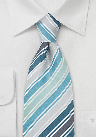 Designer Silk Tie In Turquoise Teal And Silver Bows N