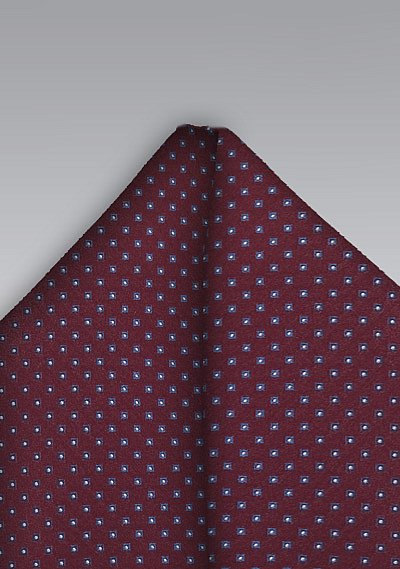 burgundy pocket square with light blue pin dots bowsn