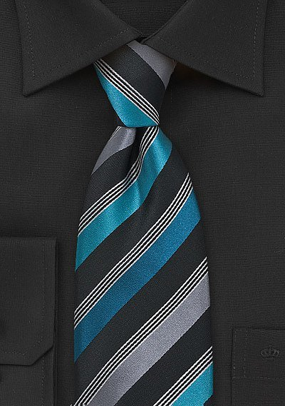 Striped Tie In Teal Black And Grey Bows N Ties Com
