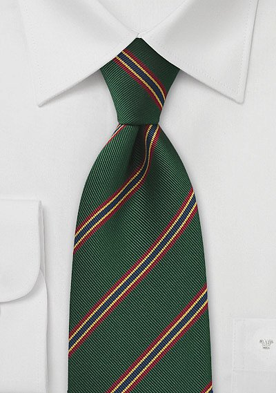 British Regimental Tie In Dark Green With Red Gold And