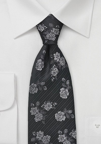 Elegant Floral Tie in Black and Pewter Bows N Tiescom