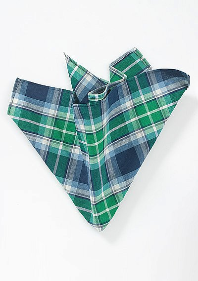 Scottish Tartan Plaid Pocket Square In Green And Blue