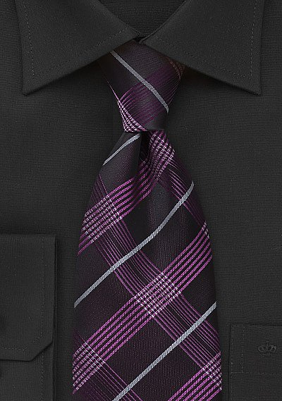 Modern Plaid Tie In Fuschia And Black Bows N Ties Com