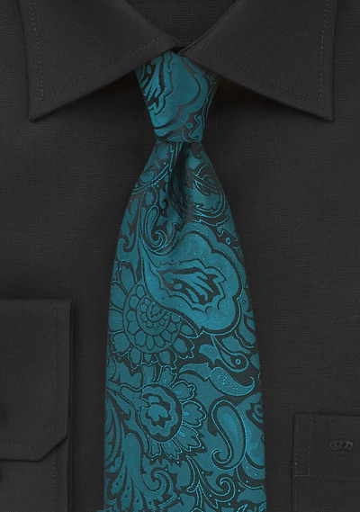Floral Paisley Tie For Kids In Peacock Teal Bows N Ties Com