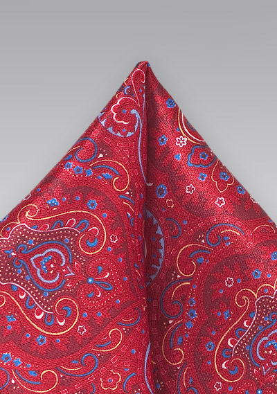 Luxe Paisley Pocket Square In Bright Red Bows N Ties Com