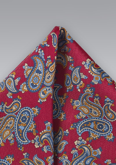 Classic Paisley Pocket Square In Bright Red Bows N Ties Com