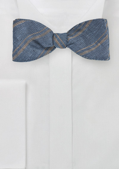 Steel Blue And Sand Colored Striped Bow Tie Bows N Ties Com
