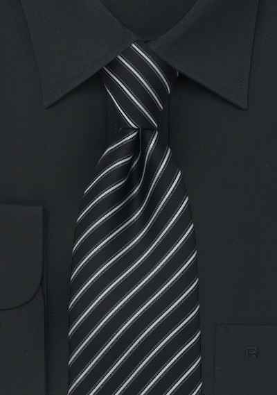 Modern Striped Tie In Black Silver And Gray Bows N