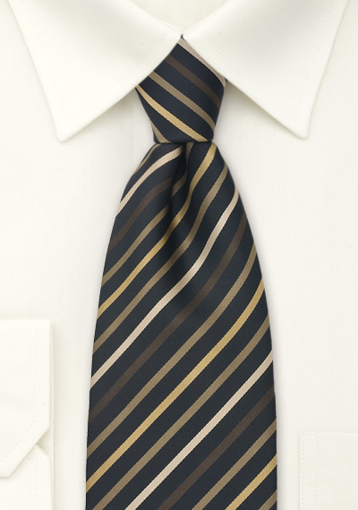 modern striped tie in brown  gold  and black