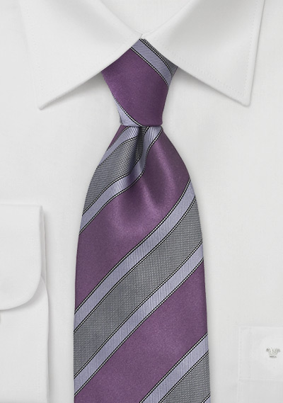 Striped Necktie In Saturated Plum Bows N Ties Com