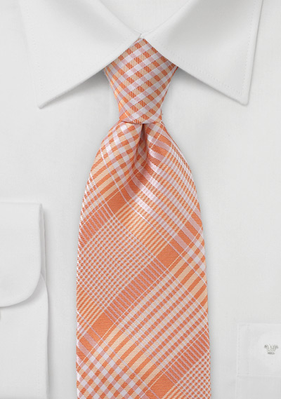 Peach Colored Tie With Check Pattern Bows N Ties Com